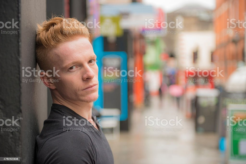 Red haired man looking to camera. royalty-free stock photo