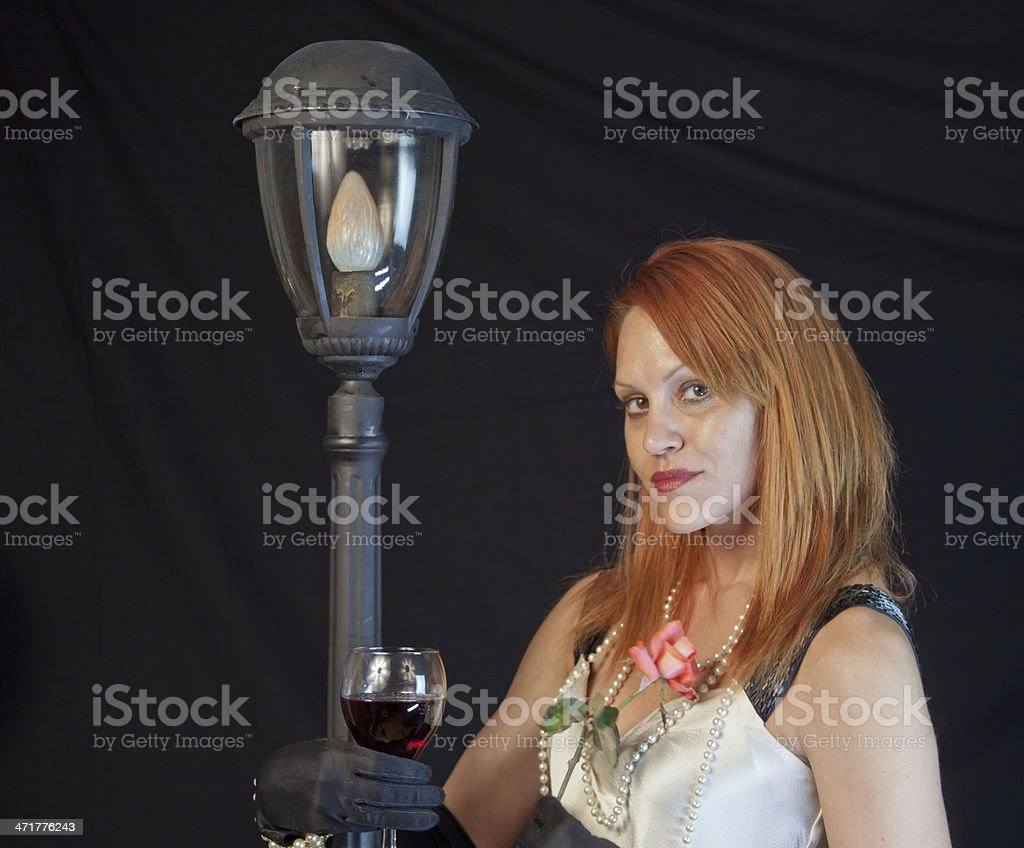 Red Haired Model At Night royalty-free stock photo