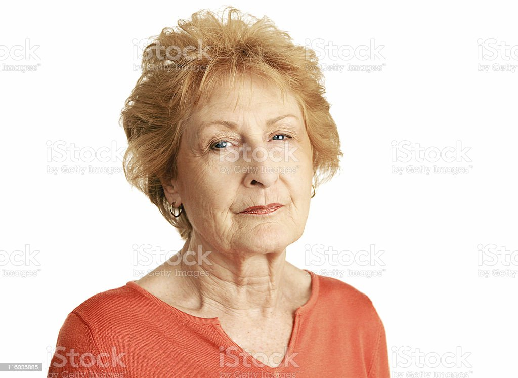Red Haired Senior - Concerned royalty-free stock photo