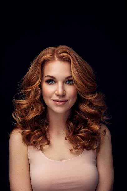red haired woman - capelli voluminosi foto e immagini stock