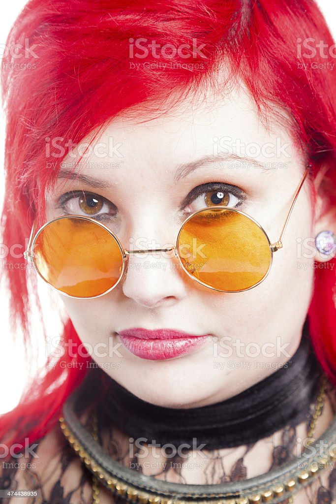 Red Haired Woman With Orange Spectacles royalty-free stock photo