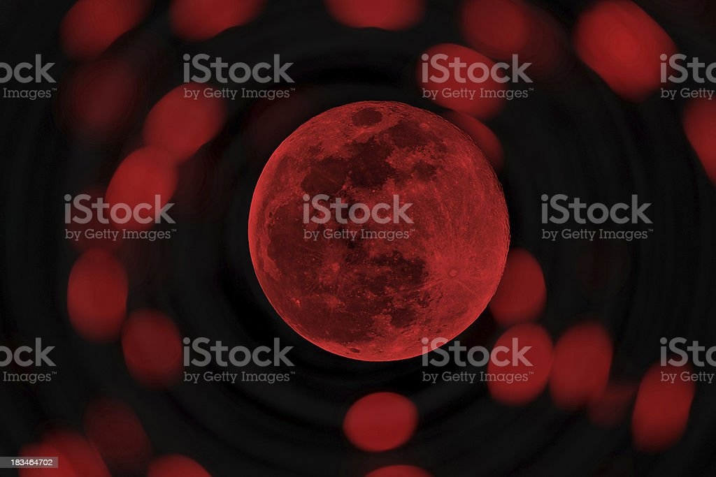 red Halloween or blood moon stock photo