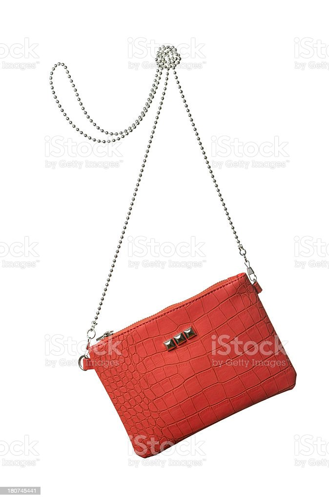 Red hand bag on white stock photo