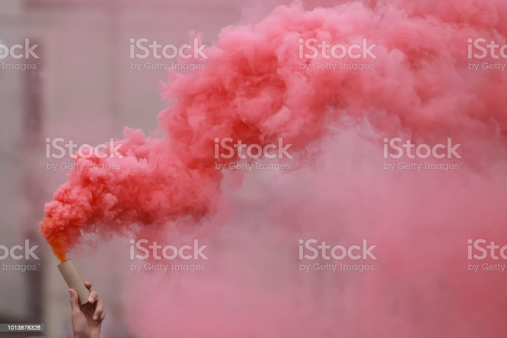 Red hand flare stock photo