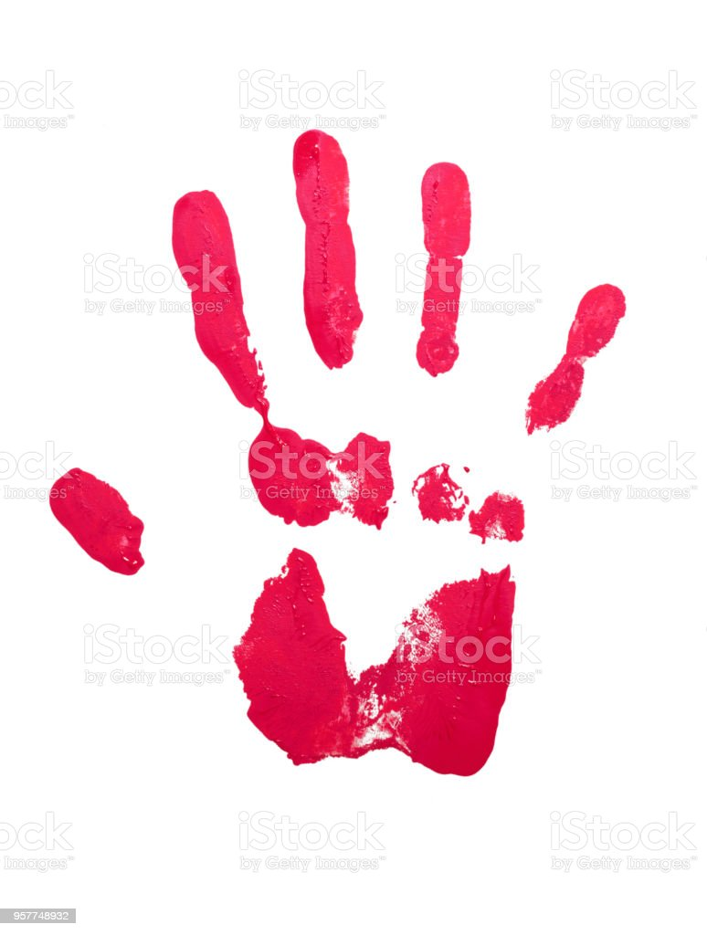red hand imprint with nail polish stock photo