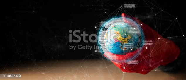 1064982786 istock photo red hand metaphor hold earth toy model dark background with virtual graphic communication technology ideas concept 1213867470
