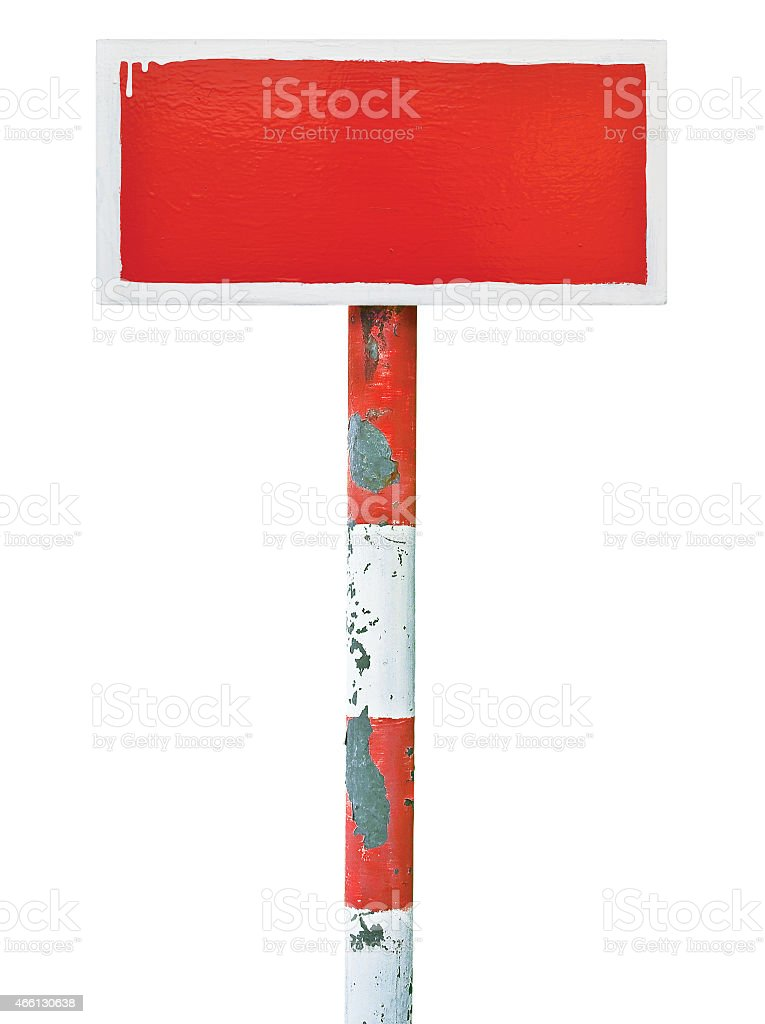 Red hand painted prohibition warning sign board metal signboard background stock photo