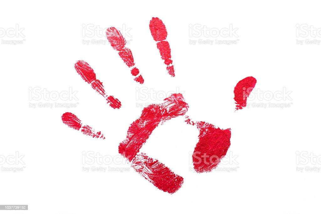 Roten Handabdruck auf weiß isoliert – Foto