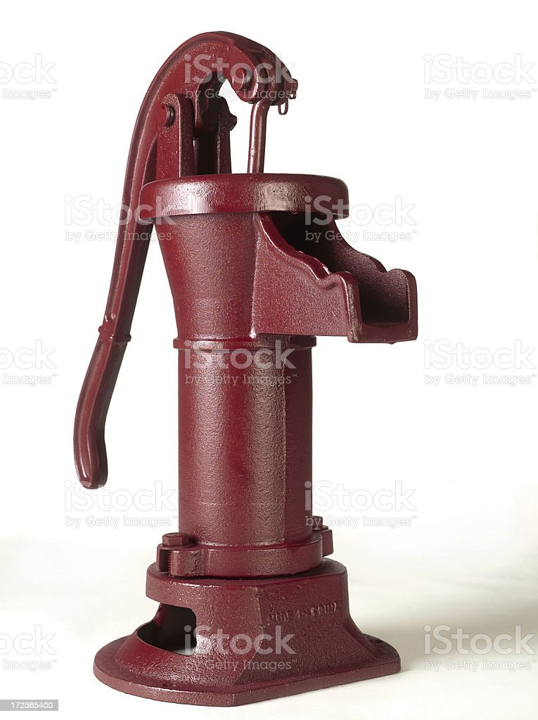Red hand pump stock photo