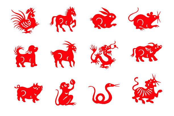Papier découpé à la main rouge animaux du zodiaque chinois - Photo