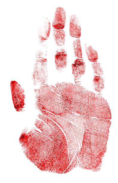 Marca de mão vermelha sobre um fundo branco - foto de acervo