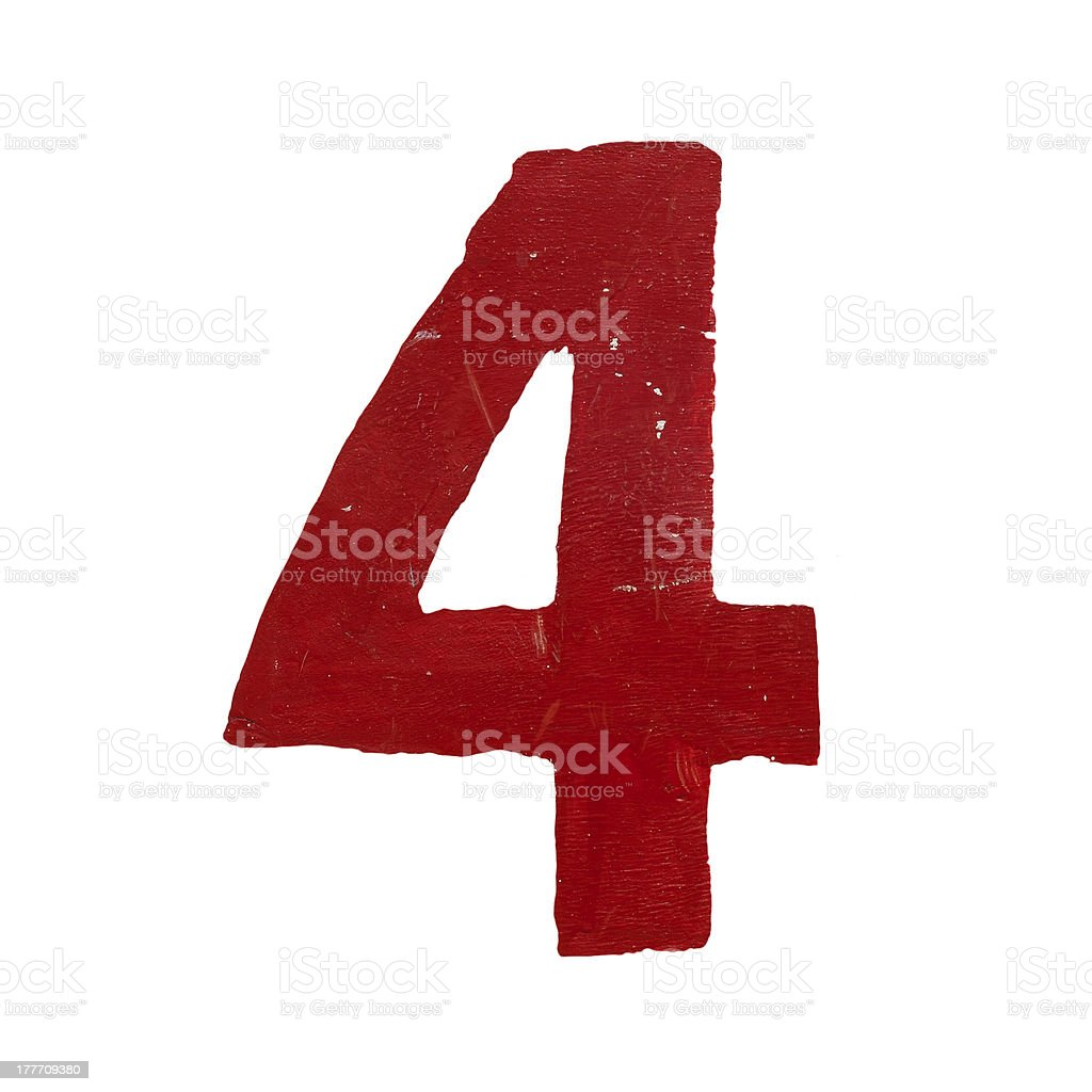 Red handwritten number four isolated stock photo