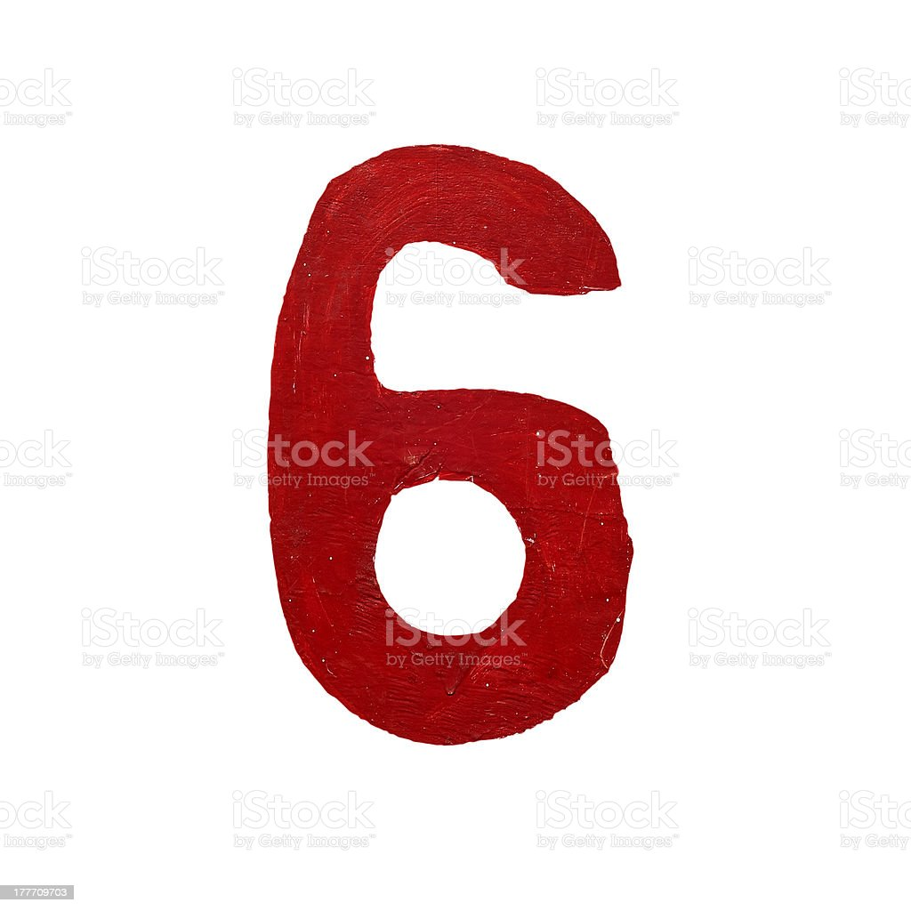 Red handwritten number six isolated royalty-free stock photo