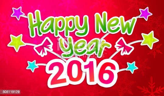 527392693 istock photo Red Happy New Year 2016 Greeting Art Paper Card 505119129