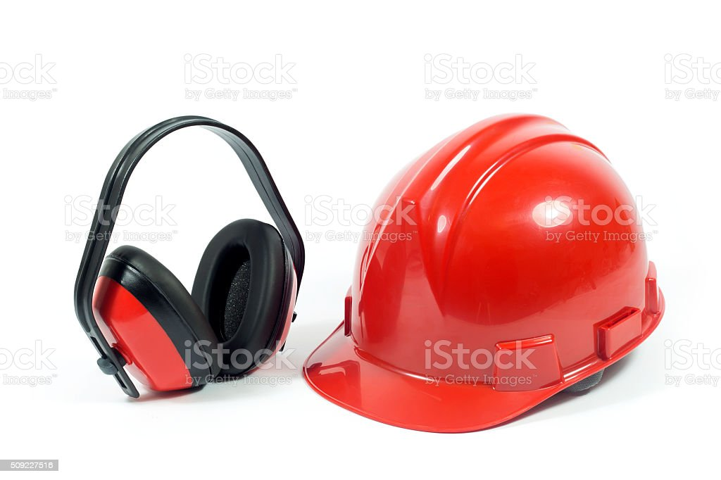 Red Hardhat And Ear Protector Isolated On White stock photo