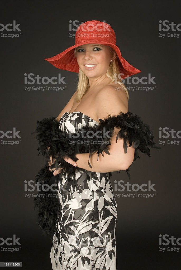 Red Hat and Black Feather Boa royalty-free stock photo
