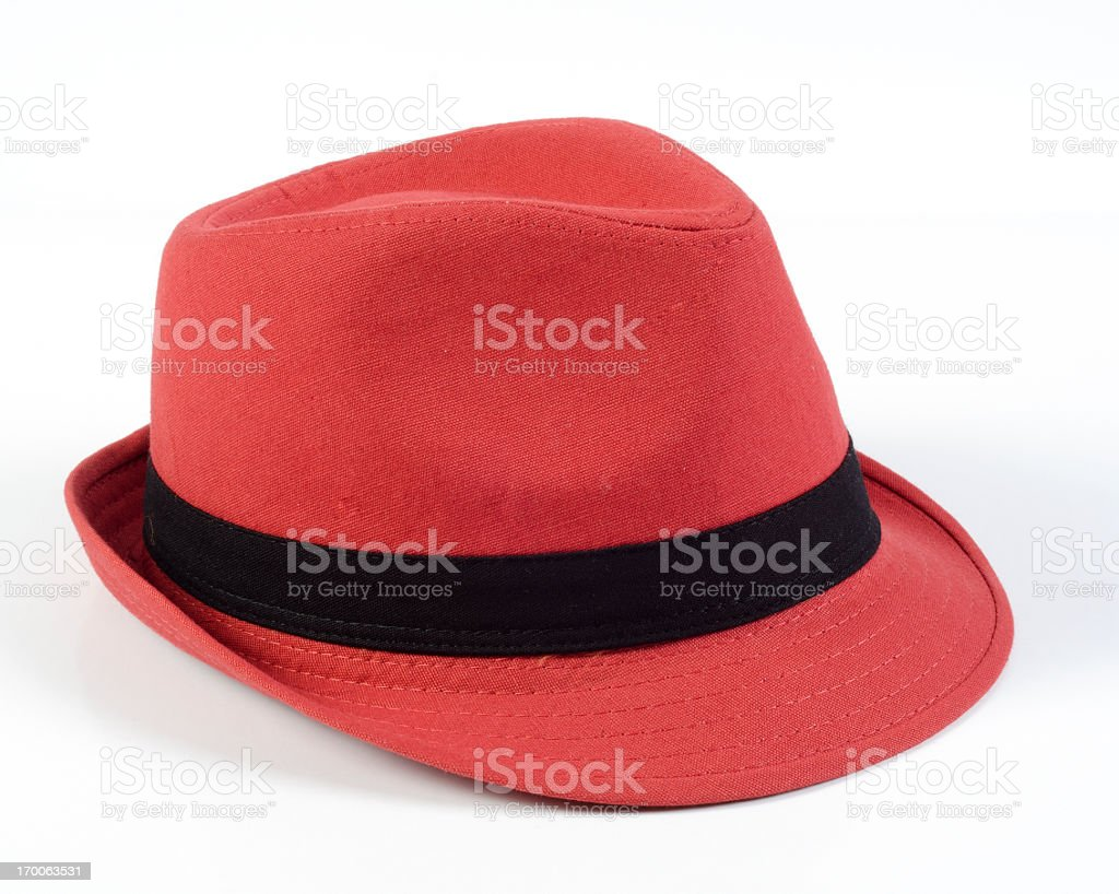 Red hat with black ribbon on top royalty-free stock photo