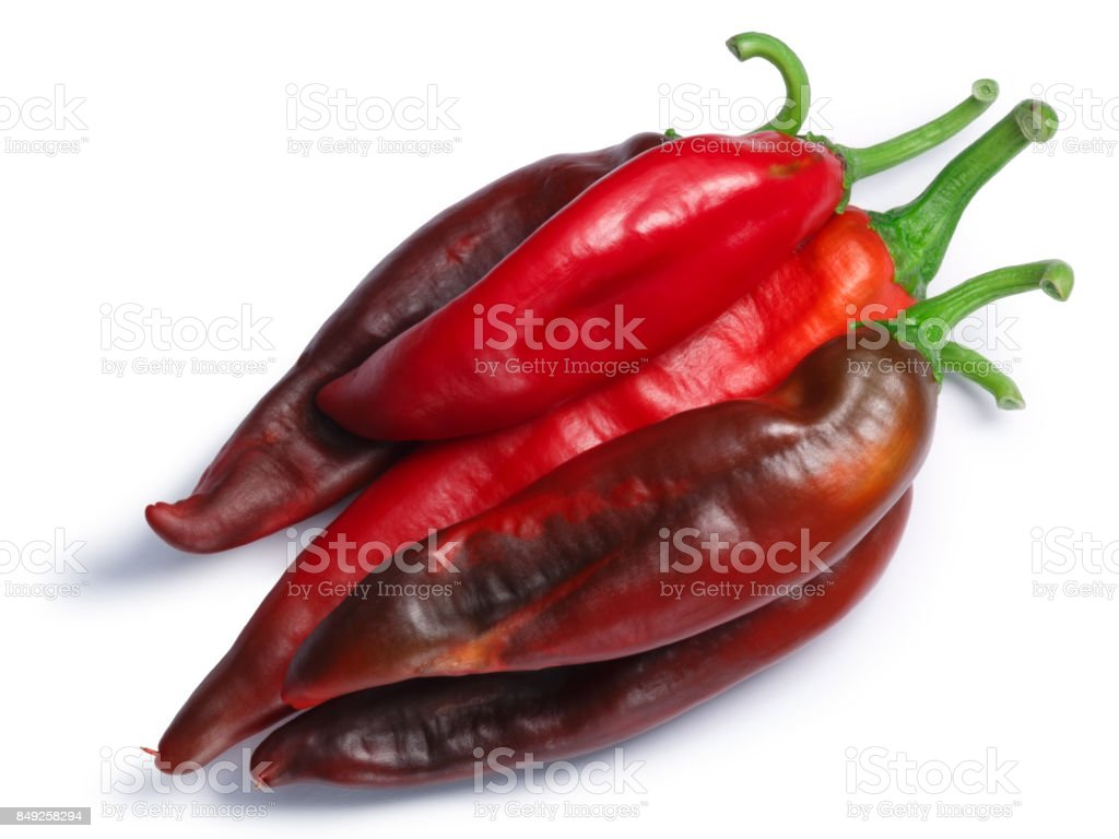 Red Hatch chile peppers pile, paths, top view stock photo