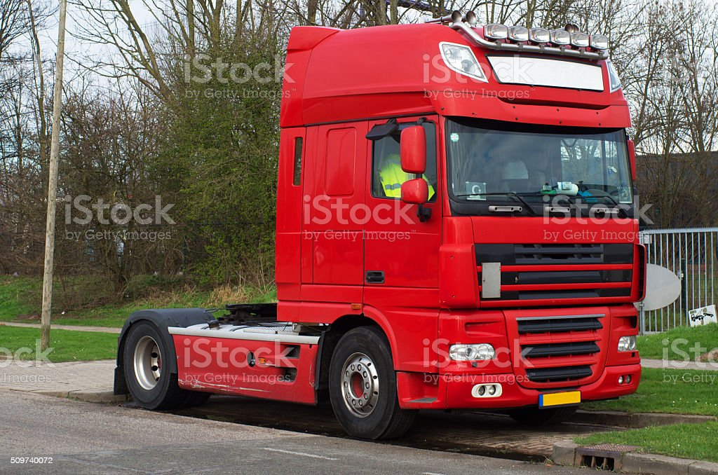 Red haulage truck stock photo