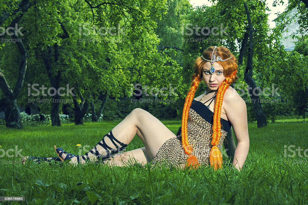 Red head amazon lies on a meadow stock photo