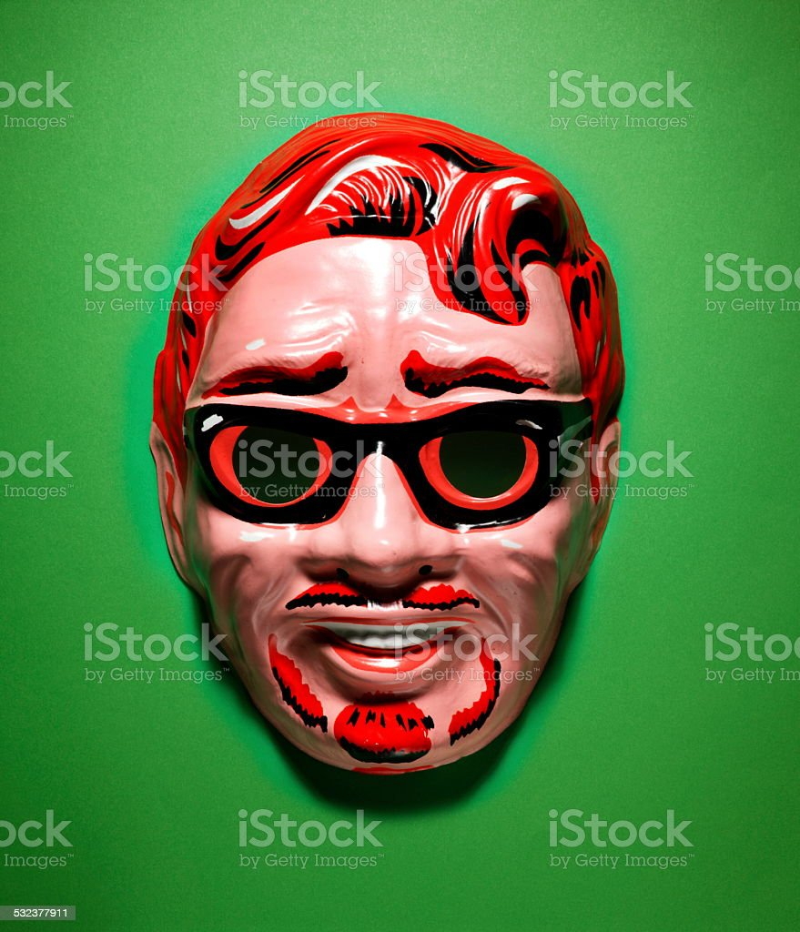 Red Head Man Mask stock photo