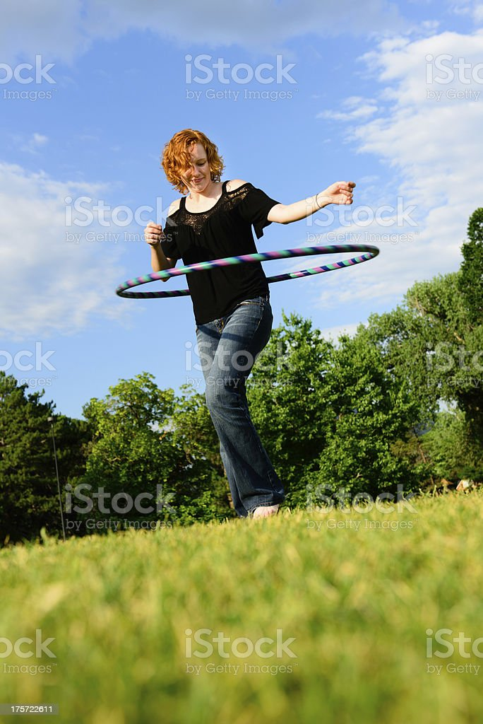 Red Head with Hula-Hoop royalty-free stock photo
