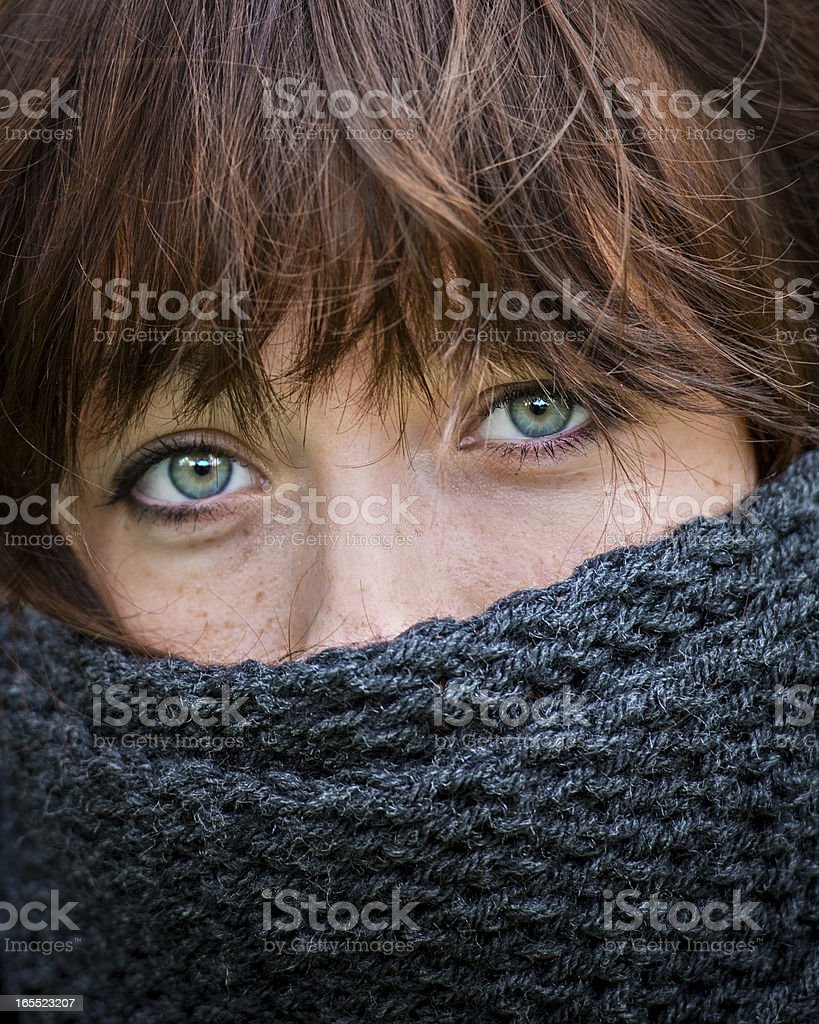 Red head woman close-up with scarf over face royalty-free stock photo