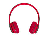 Red headphone  isolated on white background. (clipping path)