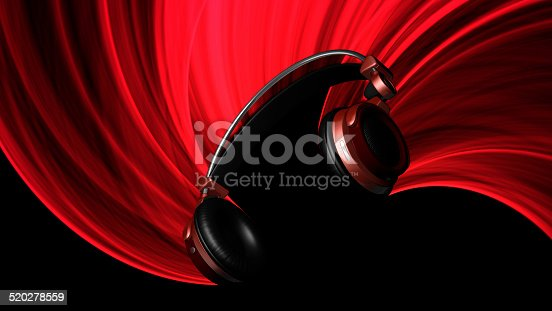 istock Red Headphones Illustration with Red Light 520278559