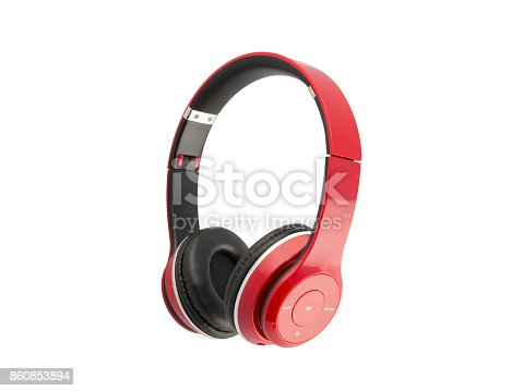 istock Red headphones isolated on a white background 860853894