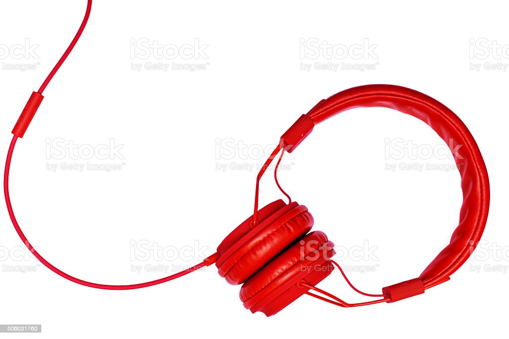 red headphones isolated on white background stock photo