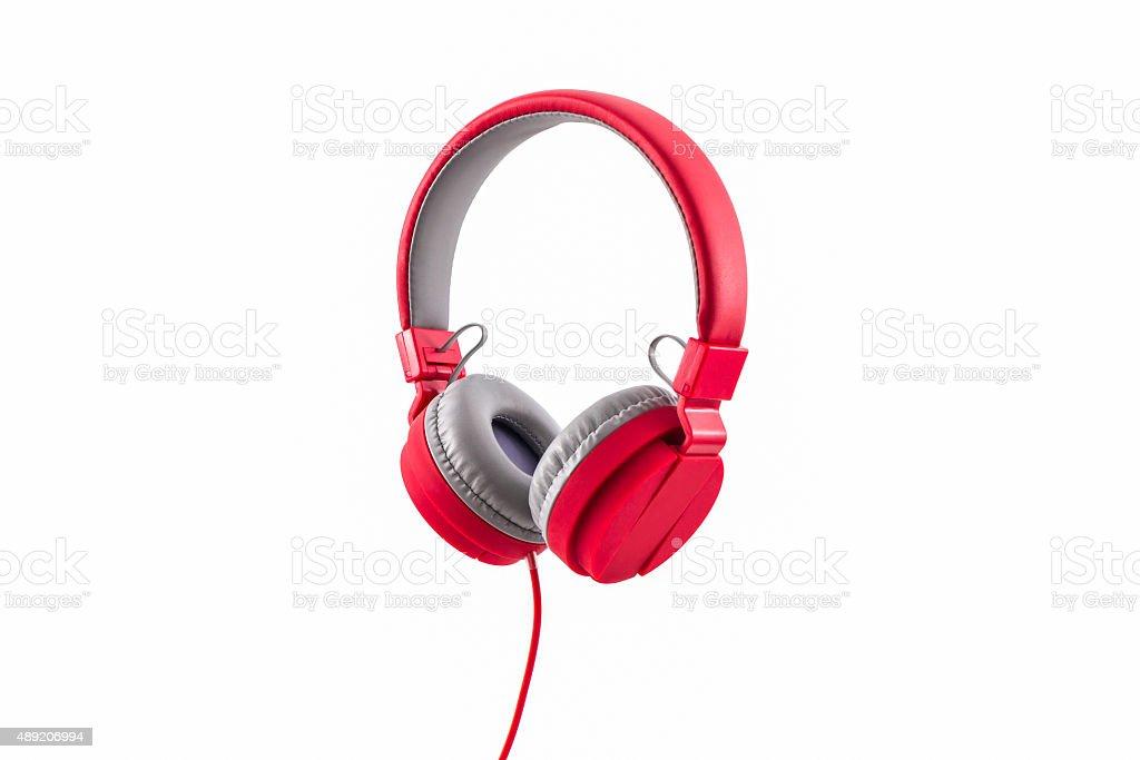 Rojo auriculares. - foto de stock