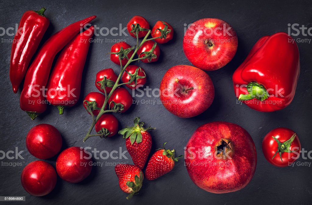 Red healthy vegetables and fruits stock photo