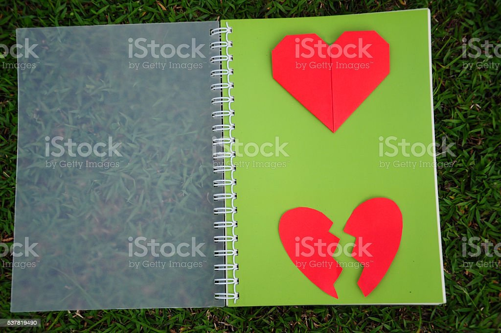 Red heart and broken heart on green diary.