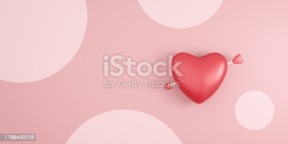istock Red heart and cupid arrow on pink polka dots background with valentine day festival. Romantic heart for wedding decoration party style. 3D rendering. 1199440125