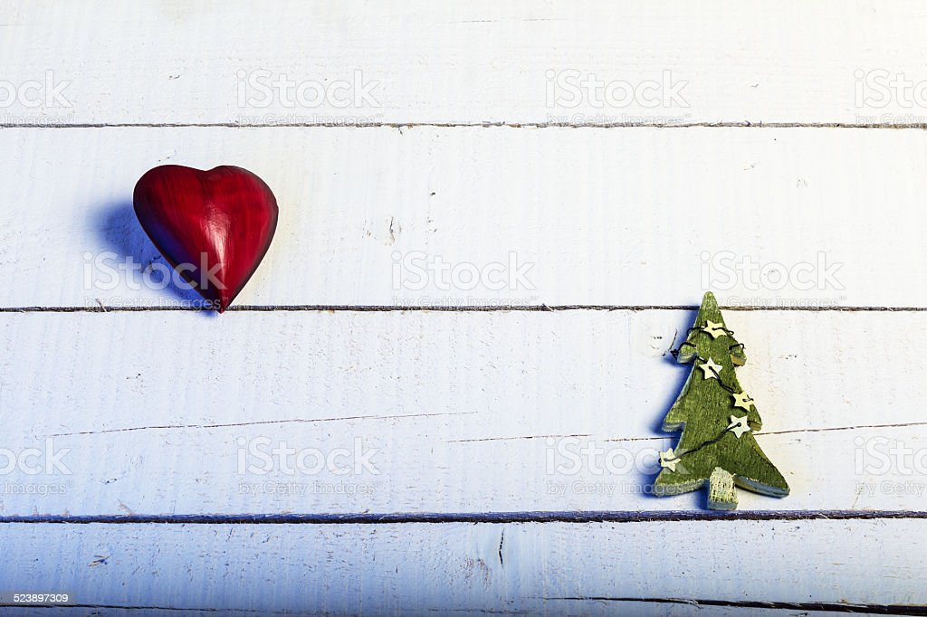 Red Heart And Green Christmas Tree On White Wood Stock Photo Download Image Now Istock