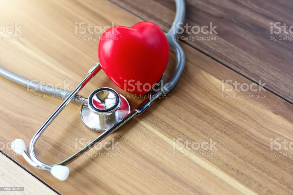 red heart ang a stethoscope royalty-free stock photo