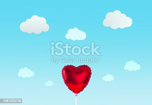 1078237178 istock photo Red heart balloon isolated on blue background. Creative minimal love concept. 1081025730