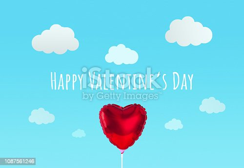 1078237178 istock photo Red heart balloon isolated on blue background. Creative minimal love concept. 1087561246