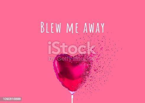 1078237178 istock photo Red heart balloon on trendy background. 1090816888