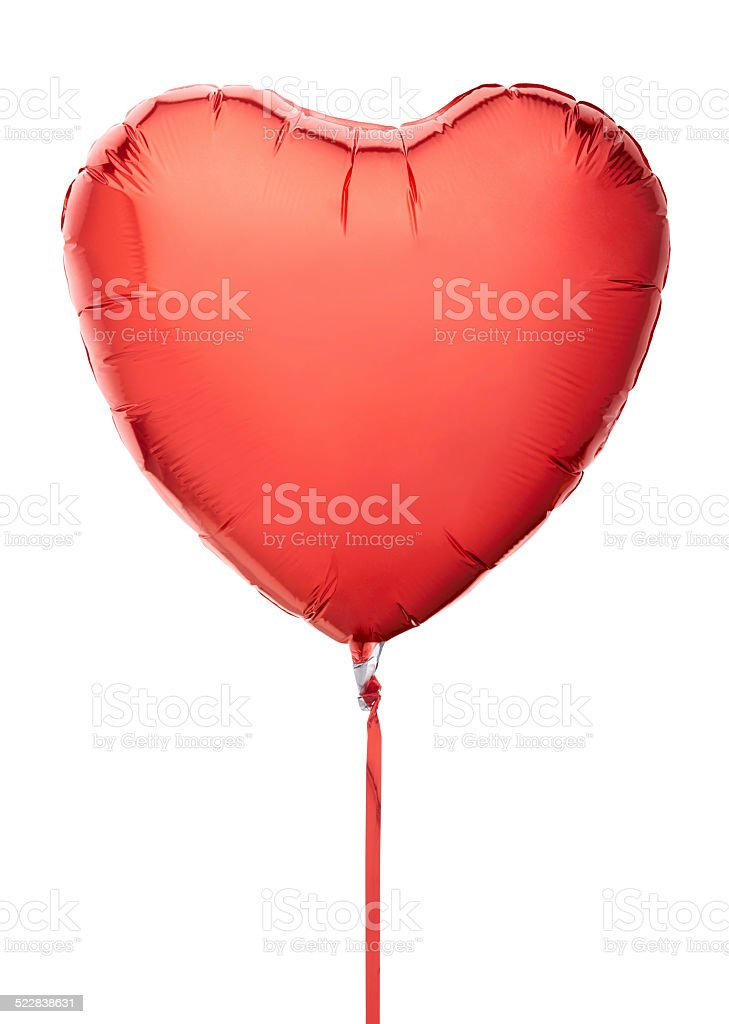 Red heart balloon with ribbon stock photo