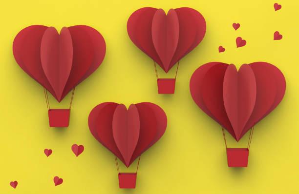 red heart balloons of cut paper, valentines day background concept - balão enfeite imagens e fotografias de stock