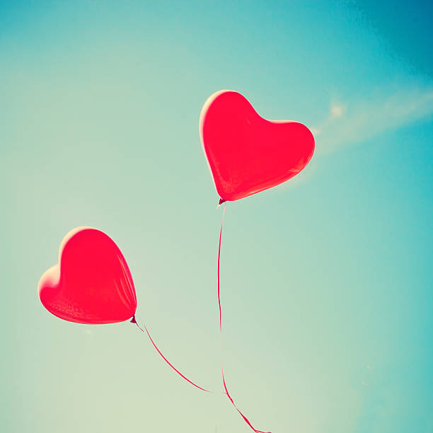 Red Heart Balloons stock photo
