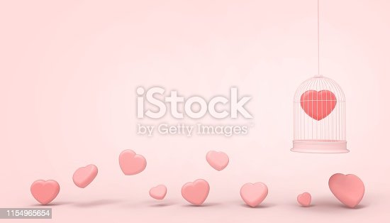 1078237178 istock photo Red heart balloons trapped in a cage and pink minimal heart group , Love concept - Valentine style - Modern Art    pastel pink background  - 3d rendering 1154965654