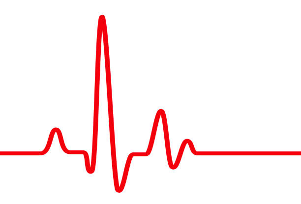 red heart beat pulse graphic line on white - pasek zdjęcia i obrazy z banku zdjęć