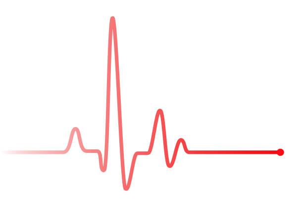 rotes herz schlägt puls grafik linie auf weiß. - pulsmessung stock-fotos und bilder