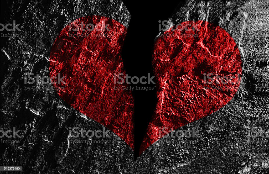 Red heart break stock photo