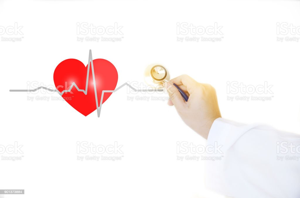 red heart cadiograph and medical doctor hand with stethoscope  on white background stock photo