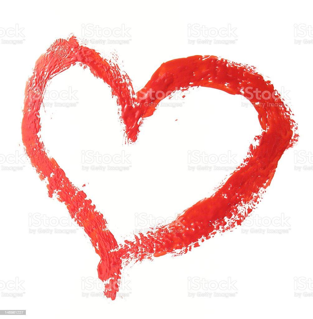 Red heart drawn by paint royalty-free stock photo