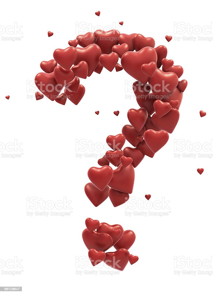 Red Heart font question symbol royalty-free stock photo